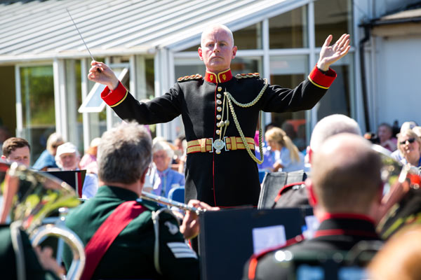 Captain Fergal Carroll, conducts the joint bands of the Army No. 1 Band and Band of the Royal Irish Regiment