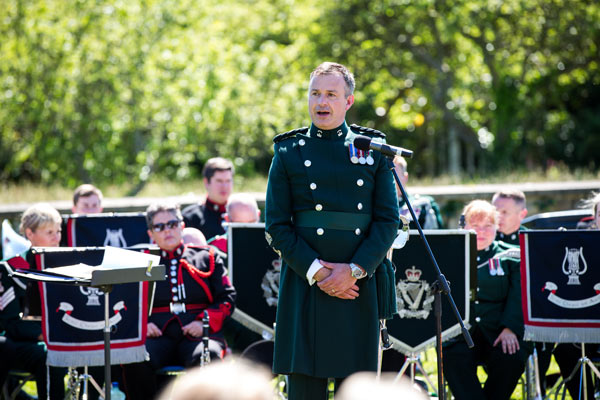 Band Master Richard Douglas, conducts the joint bands of the Army No. 1 Band and Band of the Royal Irish Regiment