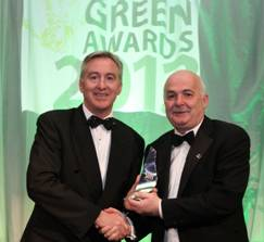 Brian O'Kennedy, MD, Clearstream (Sponsor of Green Transport Award) presenting The Green Transport Award to Fergus Ashe from Temple Street Children's University Hospital