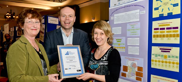 (L-R) Raphael Mc Mullin, Area Co-ordinator DML, Mark White, National Lead & Michelle Waldron Area Co-ordinator DNE recieving their finalist certificate at the Lean Healthcare Academy Conference.