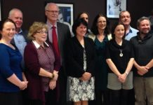 Ability West staff who completed the Breakthrough Programme. Front row left to right - Denise Higgins, Alison Coleman, Eileen Costello Conneely, CEO Breda Crehan Roche, Aoife Murray, Brian Hehir & Louise Kennedy. Back row left to right - David Joyner, Director of HR Adrian Harney, Richie Humphries, Theresa Hendley, Kevin Gavin and Ian Leonard.