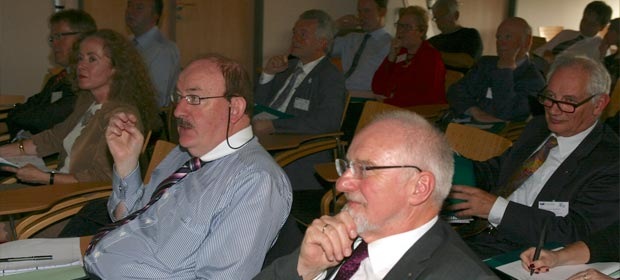 Attendees at EAHM meeting, including front row L-R Louise McMahon, President IHM Northern Ireland, Gerry O'Dwyer, Vice President EAHM and, Heinz Kolking, President EAHM