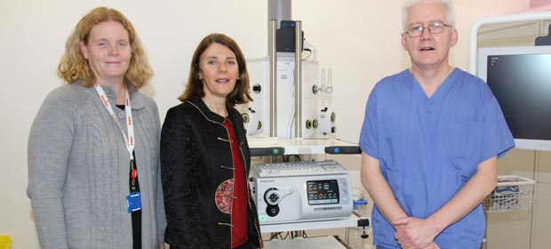 Siobhan Lynch, Hospital Manager, Mary Owens, Director of Nursing, and Dr. Neil Cronin, Consultant Physician Endoscopist in one of the procedure rooms at the newly opened Endoscopy Suite at Mallow General Hospital.