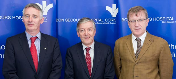 Mr. Harry Canning Hospital Manager Bon Secours Hospital, Mr. Pat Lyons Bon Secours Group CEO and  Dr David Kenney consultant Bon Secours Hospital  pictured at the opening of the New Cath Lab, Bon Secours Hospital , Cork