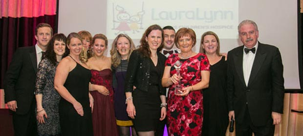 Andrew Paul, Anna Brown, Kerry McLaverty, Ann Booth, Regina Dolan, Dr. Joanne Balfe, Thomas Dawson, Philomena Dunne and Dr. Julie Ling from Lauralynn's Children Hospice, pictured with MC Martdy Whelan