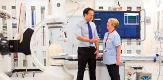 Breedge Finn with Health Minister, Dr. Leo Varadkar at the opening of the new Beaumont Cathlab