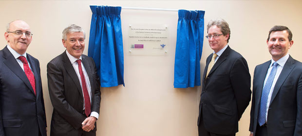 Mr. John McCabe, Bon Secours Medical Director, Mr Pat Lyons Chief Executive Bon Secours Group, Dr. James Browne, President of NUI Galway and Mr Gerry Burke Chief Executive Officer, Bon Secours Galway unveiling a plaque to mark the affiliation. Photo: Andrew Downes