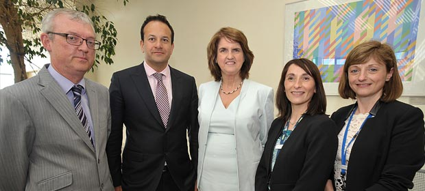 Prof Eamon Leen, Clinical Director, Leo Varadkar Minister for Health, Joan Burton Tánaiste and Minister for Social Protection, Judy McEntee, Director of Nursing and Mairead Lyons, Hospital Manager.