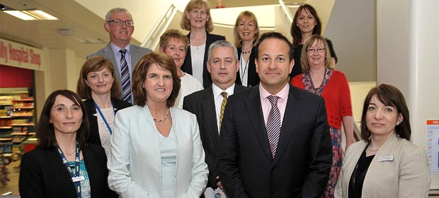 Front Row: Judy McEntee, Director of Nursing, Joan Burton, Tánaiste and Minister for Social Protection, Dr. Leo Varadkar, Minister for Health, Louise Collins, Director of Clinical Services.  Middle Row:  Mairead Lyons, Hospital Manager, Prof Eamon Leen, Clinical Director, Anne Maher, Chairperson, RCSI Hospitals Group, Bill Maher, CEO RCSI Hospitals Group, Rachel Saunders, HR Manager.   Back Row:  Shona Schneemann, Deputy Hospital Manager, Caroline Stratton, Finance Manager, Doreen Powell, Risk Manager.