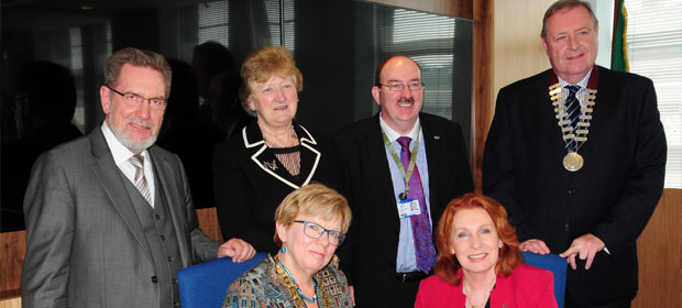 Minister of State Kathleen Lynch who joined the group for two sessions, pictured with Professor Geraldine McCarthy. Back row, Klaus Kupfer, Inger Kari Nerheim, Gerry O'Dwyer and Derek Greene,