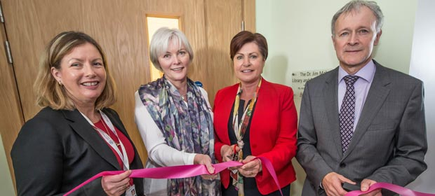Ms. Anne Slattery, General Manager, St Luke's, Ms Ann Mahon, wife of the late Dr Jim Mahon, Minister of State Ms. Ann Phelan and Prof Garry Courtney, Clinical Director, St Luke's, cutting the ribbon at the opening of the Dr Jim Mahon Library and Education Centre, St Luke's General Hospital, Carlow-Kilkenny