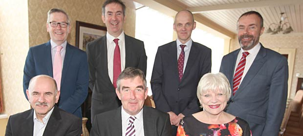 Pictured following the AGM and Management Board meeting of Co-operation and Working Together (CAWT) held in Rossnowlagh, Co Donegal recently were: Back row (l to r): Francis Rice, Interim Chief Executive, Southern Health and Social Care Trust (NI), Damien McCallion, National Director Ambulance Service, HSE, Dean Sullivan, Director of Commissioning, Health and Social Care Board (NI), Paul Cavanagh, Commissioning Lead, Health and Social Care Board (NI). Front row (l to r): Dr Eddie Rooney, Chief Executive, Public Health Agency (NI), Tom Daly, Assistant National Director, HSE North South Unit and Director General of CAWT and Elaine Way, Chief Executive, Western Health and Social Care Trust (NI).