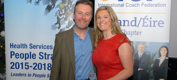 ICF (Ireland) President, Eoin McCabe, with Rosarii Mannion, HSE National Human Resources Director, in Clontarf Castle. Photo credit Alan Guiomard @icfireland and #ICFIrelandAwards16