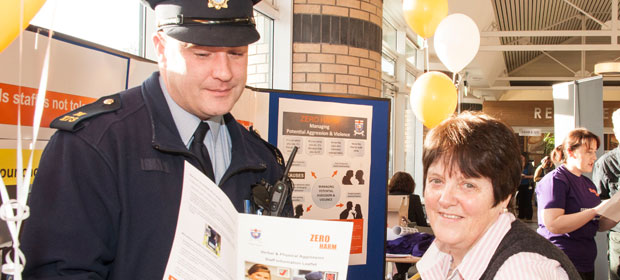 Community Guard Ger Kildea and staff member Catherine Cummins at the Zero Harm Working Together to Improve Safety launch at Tallaght Hospital