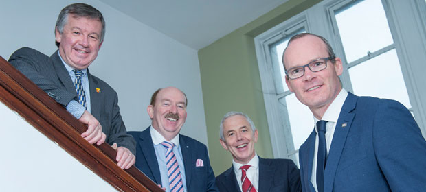 Dr Michael Murphy, President UCC, Gerry O Dwyer, CEO South/South West Hospitals Group, Prof John Higgins, Head of College of Medicine and Health UCC and Simon Coveney, Minister for Housing, Planning and Local Government, pictured as a new home is delivered for UCC's College of Medicine and Health.
