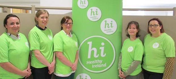 Ros Groarke (Occupational Therapy), Kate Plunkett (Physiotherapy), Caitriona Malone (Occupational Therapy), Gráinne Flanagan (Dietitian Manager & Healthy Ireland Committee lead) and Margaret Williams (Divisional Nurse Manager & Healthy Ireland Committee Co-lead).