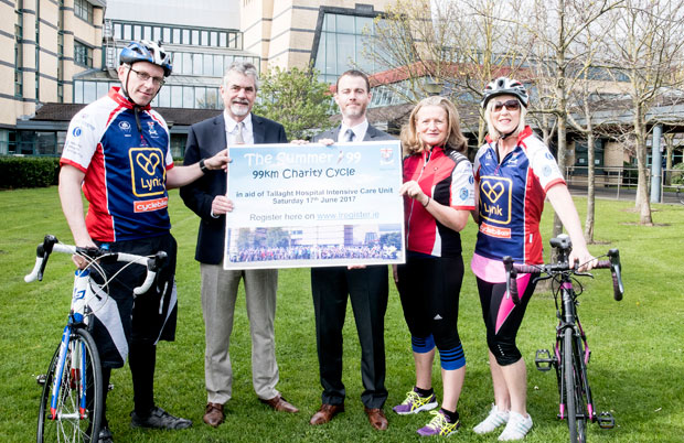 Dr. Pat Conroy, Consultant Anaesthetist, Prof. Gerry Fitzpatrick, Director of Intensive Care, David Slevin, CEO, Siobhan Connors, Critical Care Outreach Nurse and Yvonne Lewis Senior Health Care Assistant in ICU, pictured at the launch of the 2017 Tallaght Hospital Summer 99 Charity Cycle.
