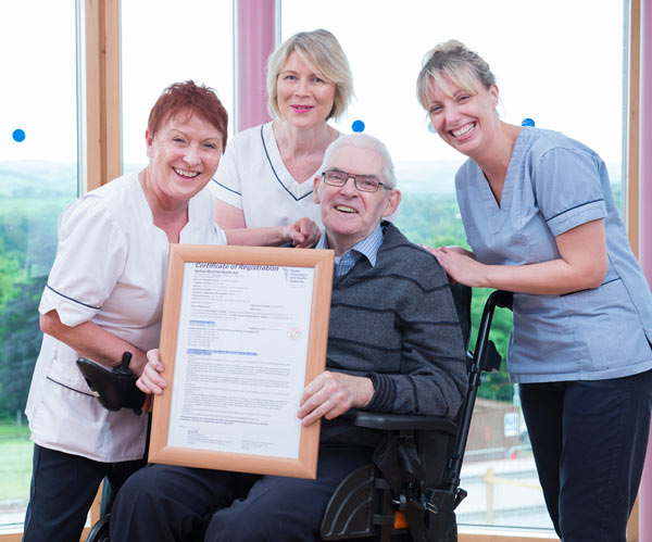 Kathleen McCarthy Care Assistant, Margo Hurley Care Assistant  with Peter McKenna originally  from Liverpool and Brida Dineen Staff Nurse pictured at St Joseph's Hospital, Bon Secours Care Village, Mount Desert, Lee Road , Cork which achieved full compliance in a HIQA registration inspection.