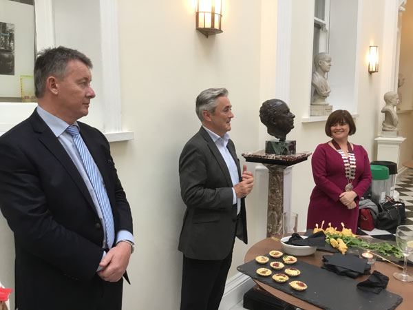 Eamon Fitzgerald, HOPE National Co-Ordinator, Ireland and HMI Council Member, Prof Ciaran O'Boyle, Director RCSI Institute of Leadership and RCSI Professor of Psychology and HMI President, Lucy Nugent at the RCSI farewell reception.