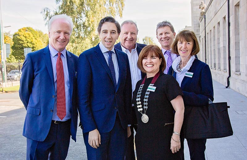 Lorcan Birthistle, Minister Simon Harris,Derek Greene, Gerard O'Callaghan, Lucy Nugent, Dymphna Bracken