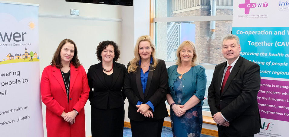 Pictured at the launch of the Ireland, Northern Ireland and Scotland EU funded mPower cross border health project, which will be delivered in local border areas within the HSE areas of Donegal, Leitrim, Louth and Monaghan are (l to r) Cara O'Neill, HSE, Ann Coyle, HSE, Gina McIntyre, the Special EU Programmes Body, Edel O'Doherty, CAWT cross border health and Alan Connor, mPower Project Manager