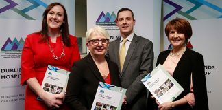 Orlagh Claffey, General Manager of Midland Regional Hospital Tullamore, Dr. Susan O'Reilly, Trevor O'Callaghan, Acting CEO of the Dublin Midlands Hospital Group and Professor Mary McCarron, Dean of the Faculty of Health Sciences at Trinity College at the launch of the strategy.