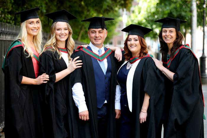 First Irish-trained Physician Associates graduate at RCSI  Pictured are Ciara Melia, Jessica Maddock, Maria Macken, Michael Buljubasic and Patricia Anderson who are among Ireland's first ever cohort of Physician Associate students who celebrated their graduation at the RCSI (Royal College of Surgeons), St Stephen's Green, Dublin.