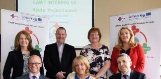 Pictured at the launch of the €8.8 million EU INTERREG VA funded CAWT cross border Acute Hospital Services Project were front row (left to right): Alastair Campbell, Director of Secondary Care, Dept of Health Northern Ireland; Dr Margaret Whoriskey, Scottish Government and Sean Murphy, General Manager, Letterkenny University Hospital, HSE. Back row(left to right): Louise Potts, CAWT Acute Project Manager, Dr Ray Nethercott, Consultant Paediatrician; Western Health and Social Care Trust;,Bernie McCrory, Chief Officer, CAWT and Gina McIntyre, CEO, Special EU Programmes Body (SEUPB).