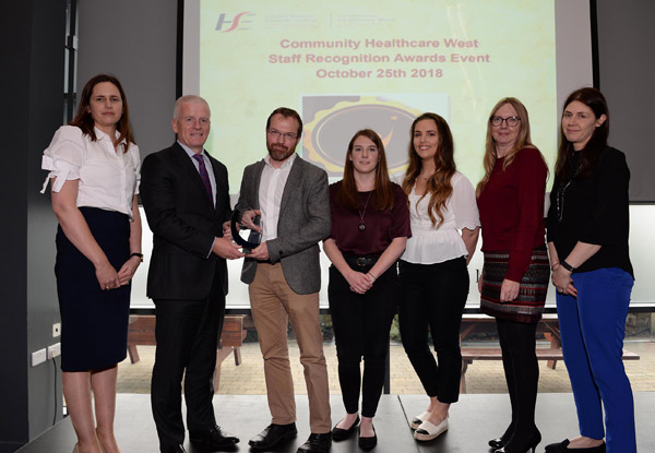 Overall Winner Service Improvement: Access to Psychological Service Ireland: Ms Mary Warde General Manager Mayo & Roscommon Primary Care Services Tony Canavan, Chief Officer Community Healthcare West Dr Padraig Collins, Senior Clinical Psychologist, Primary Care Centre Roscommon Aimée Walsh, Amy Corbett, Martina Hughes and Noelle Sammon.