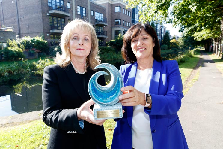 Anne Heraty, CEO of Cpl presenting Professor Laura Viani with the inaugural Cpl World-Class Talent Award