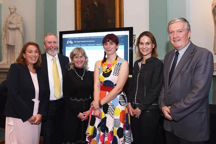 Ms Evonne Healy Director of Nursing, RHD, Mr Conor Leonard CEO RHD, Prof Mary Horgan, President, RCPI, Ms Harriet Wheelock, Keeper of Collections at RCPI Heritage Centre, Dr Lisa Cohan, Medical Director RHD, Dr Diarmuid O'Shea, Registrar, RCPI.